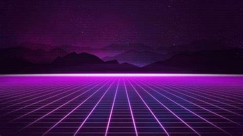 Wallpaper Neon, Synthwave, Retrowave, Grid, Mountains