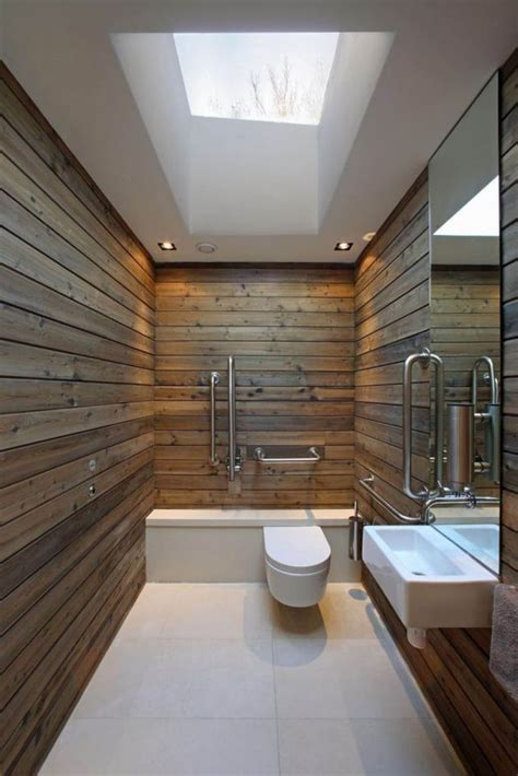 Rustic Plank Walls For A Warm Look Of The Bathroom