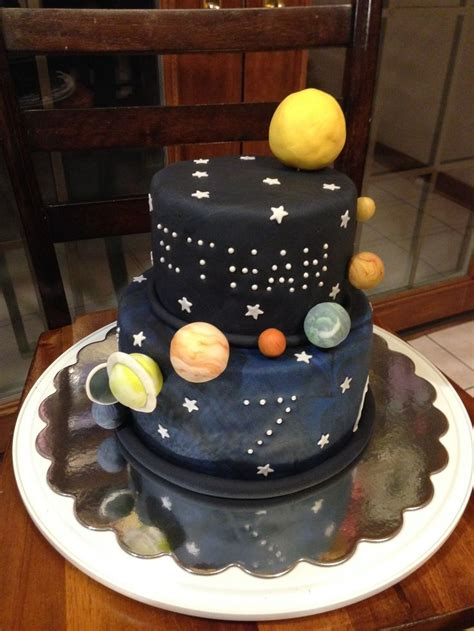 Galaxy planets birthday cake (with hidden planets inside
